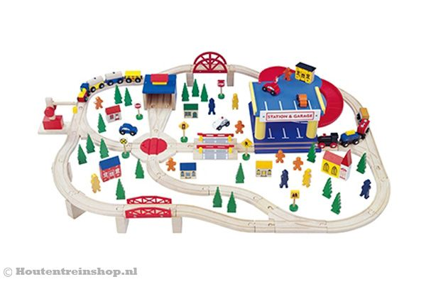 Woodtoys treinset 110 delig.